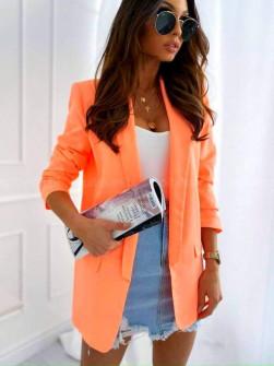 Γυναικείο σακάκι με φόδρα 5783 πορτοκαλί