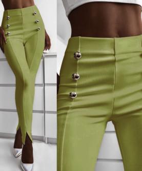 Γυναικείο παντελόνι με σκισίματα 5517 πράσινο