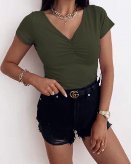 Γυναικεία μονόχρωμη μπλούζα 70191 χακί