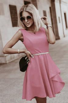 Γυναικείο φόρεμα με ζώνη 5859 ροζ