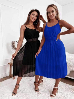 Γυναικείο φόορεμα μίντι με ζώνη 5826 μπλε