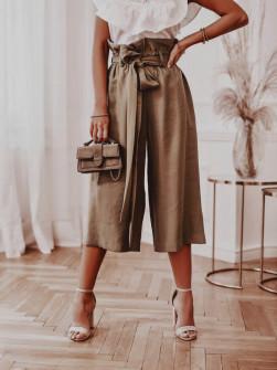 Γυναικείο χαλαρό παντελόνι 18088 καφέ