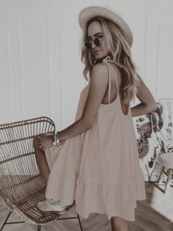 Дамска къса свободна рокля 8223 бежова