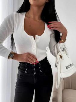 Γυναικεία μπλούζα με κουμπιά 4748 άσπρη