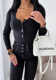 Γυναικεία μπλούζα με κουμπιά 4748 μαύρη