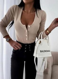 Γυναικεία μπλούζα με κουμπιά 4748 μπεζ