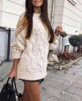 Γυναικείο πουλόβερ με εντυπωσιακά μανίκια 00861 μπεζ