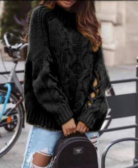 Γυναικείο πουλόβερ με εντυπωσιακά μανίκια 00861 μαύρο