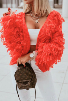 Γυναικεία εντυπωσιακή ζακέτα 00872 πορτοκαλί