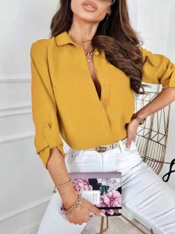 Γυναικείο μονόχρωμο πουκάμισο 9363 κίτρινο