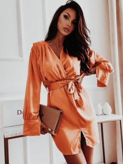 Γυναικείο σατέν φόρεμα 3979 κεραμιδί