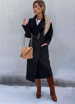 Γυναικείο εντυπωσιακό παλτό 6122 μαύρο