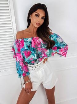 Γυναικεία μπλούζα με στρογγυλή λαιμόκοψη 5811 φούξια