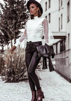 Γυναικεία μπλούζα με τούλι και δαντέλα 4761 άσπρο