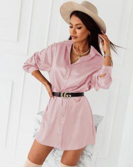 Γυναικείο σατέν πουκάμισο 6025 ανοιχτό ρόζ