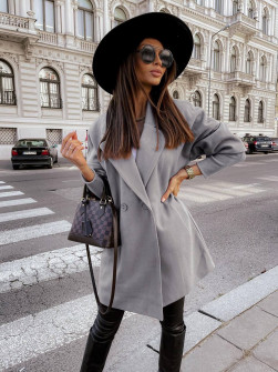 Γυναικείο παλτό με στενά μανίκια 6044 γκρι