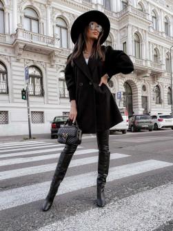 Γυναικείο παλτό με στενά μανίκια 6044 μαύρο