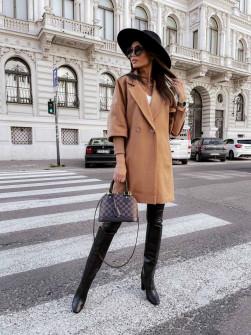 Γυναικείο παλτό με στενά μανίκια 6044 καμηλό