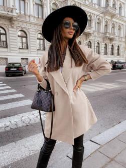 Γυναικείο παλτό με στενά μανίκια 6044 μπεζ