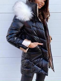 Гυναικέιο μπουφάν με χνουδωτό γιακά και κουκούλα MF2101 μαύρο
