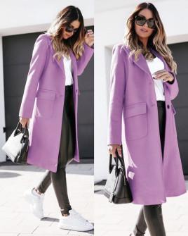 Γυναικείο παλτό μέχρι το γόνατο με φόδρα 5361 λιλά