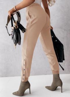 Дамски панталон с копчета на крачола 5954 бежов