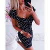 Γυναικείο φόρεμα πουά  345602 μαύρο