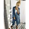 Γυναικεία μακριά ζακέτα με τσέπες 32971 μπλε