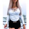 Γυναικεία μπλούζα με κορδόνια 4004 άσπρη