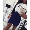 Γυναικεία σουέτ φούστα με ζώνη 3338 σκούρο μπλε