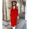 Γυναικείο κομψό παλτό με ζώνη και φόδρα 5357 κόκκινο
