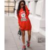 Γυναικείο μπλουζοφόρεμα με στάμπα αρκουδάκι 3463 κόκκινο