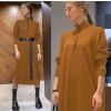 Γυναικείο μακρύ μπλουζοφόρεμα με ζώνη 5395 μουσταρδί