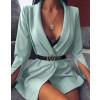 Γυναικείο σακάκι με σκίσιμο στο μανίκι 3994 μέντα