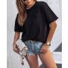 Γυναικείο κοντομάνικο με τσέπη 4688 μαύρο