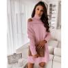 Γυναικείο εντυπωσιακό πλεκτό μπλουζοφόρεμα 8172 ροζ