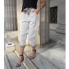 Γυναικείο παντελόνι με ρίγα και ζώνη 1809 άσπρο