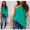 Χαλαρή μπλούζα με έναν ώμο 5084 πράσινη