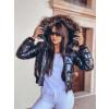 Γυναικείο μπουφάν με γουνάκι στην κουκούλα 81996 μαύρο