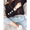 Γυναικεία μπλούζα με κουμπιά στο μανίκι 3735 μαύρη
