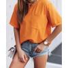 Γυναικείο κοντομάνικο με τσέπη 4688 πορτοκαλί
