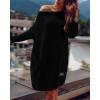 Γυναικείο πλεκτό μπλουζοφόρεμα 00633 μαύρο