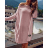 Γυναικείο πλεκτό μπλουζοφόρεμα 00633 ροζ