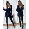 Γυναικείο παλτό με ζώνη χωρίς φόδρα 5290 σκούρο μπλε