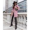 Γυναικείο παλτό με φόδρα και ζώνη 5334 ροζ