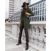 Γυναικείο παλτό με φόδρα και ζώνη 5334 χακί