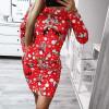 Γυναικείο χριστουγεννιάτικο φόρεμα 96871 κόκκινο