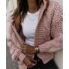 Γυναικεία ζακέτα με κουκούλα 9106 ροζ