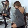 Γυναικείο φόρεμα με δαντέλα στην πλάτη 5294 γκρι σκούρο