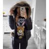 Γυναικείο μπουφάν με γουνάκι 81264 μαύρο